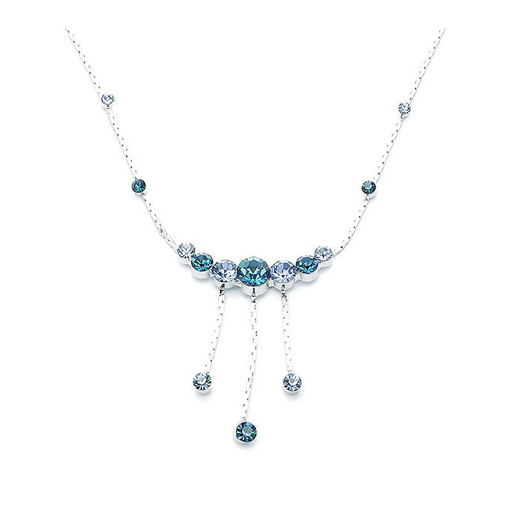 Elegant Necklace with Blue Austrian Element Crystals