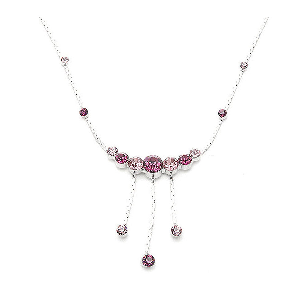 Elegant Necklace with Purple Austrian Element Crystals