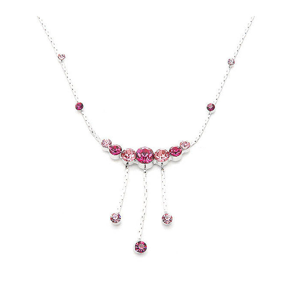 Elegant Necklace with Pink Austrian Element Crystals