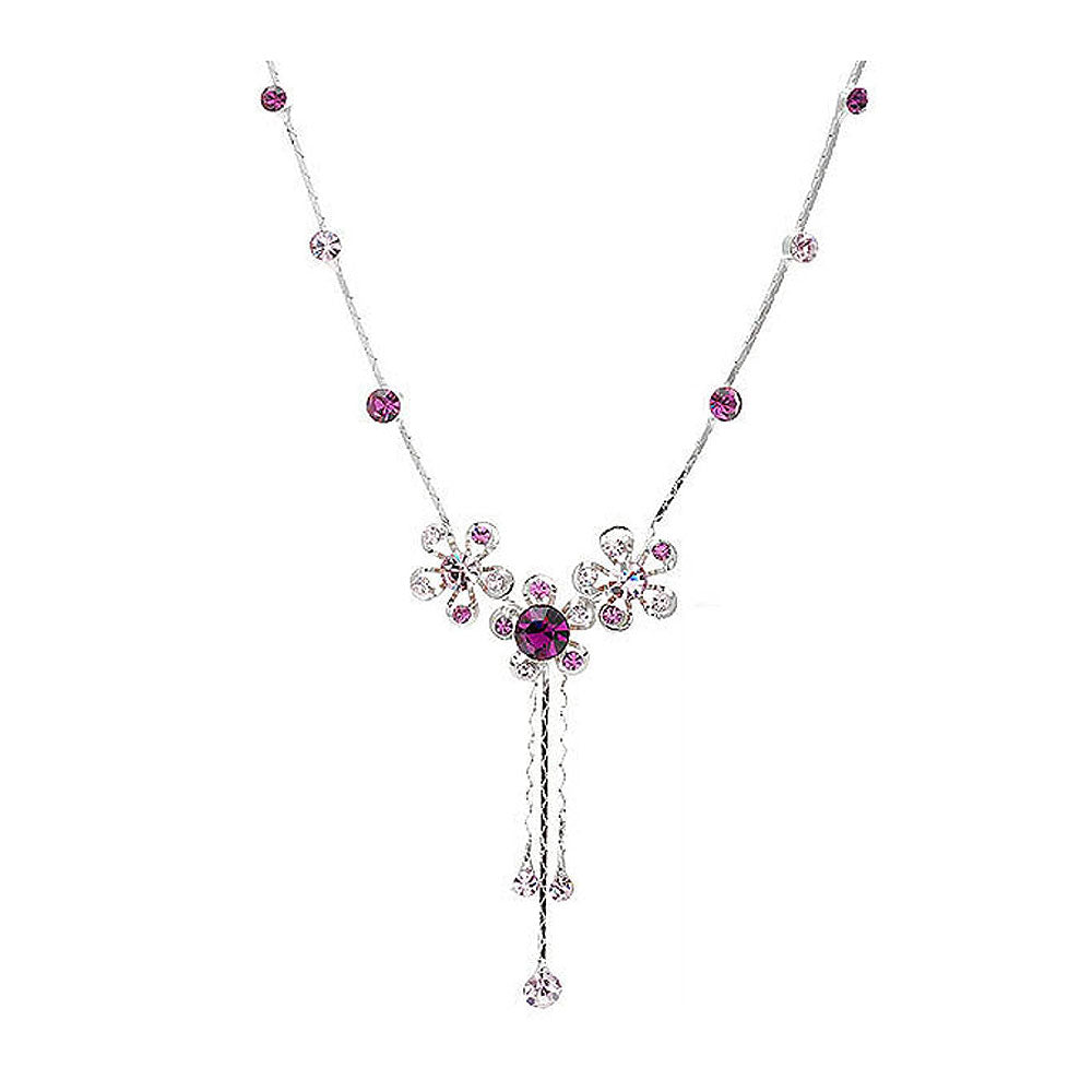 Silver Flower Necklace with Purple Austrian Element Crystals