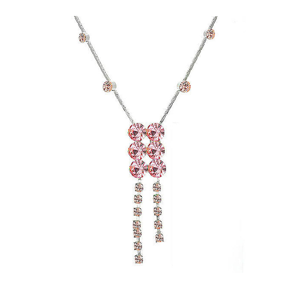 Elegant Silver Necklace with Pink Austrian Element Crystals