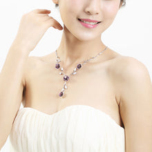 Load image into Gallery viewer, Elegant Rose Necklace with Purple Austrian Element Crystals