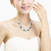 Load image into Gallery viewer, Elegant Rose Necklace with Blue Austrian Element Crystals