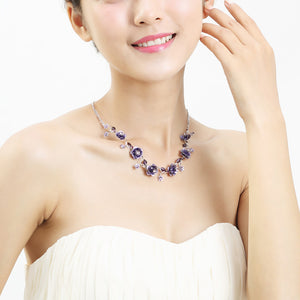 Elegant Rose Necklace with Purple Austrian Element Crystals