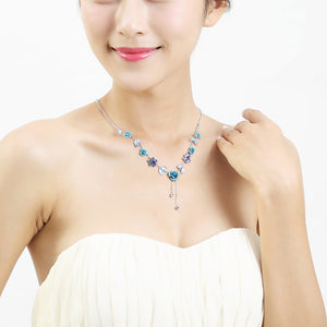Elegant Rose Necklace with Blue Austrian Element Crystals
