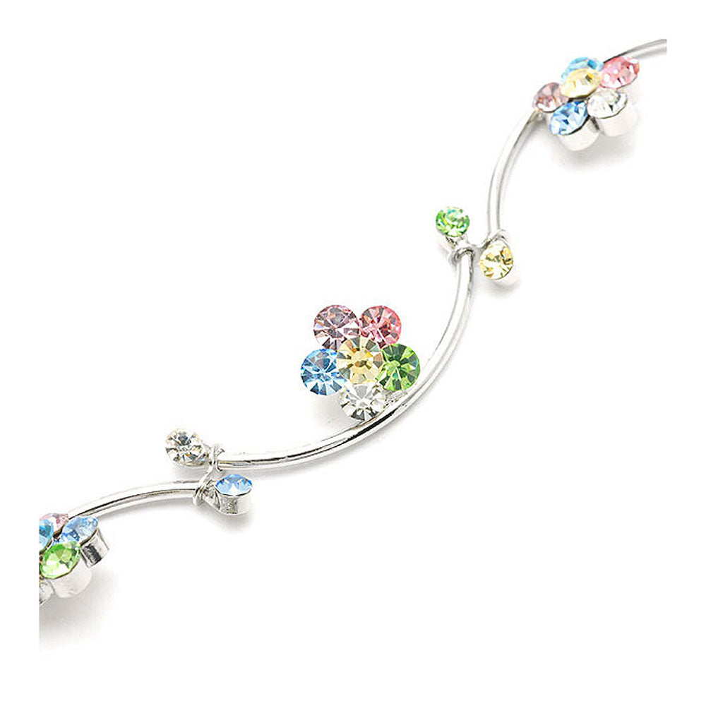 Flower and Wave Bracelet with Multi-colour Austrian Element Crystals
