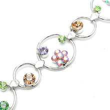 Load image into Gallery viewer, Flower in Circle Bracelet with Multi-colour Austrian Element Crystals