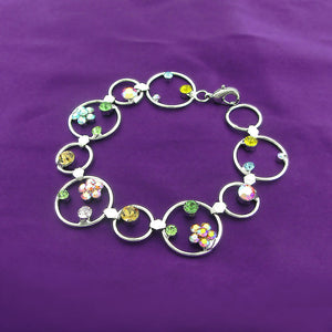 Flower in Circle Bracelet with Multi-colour Austrian Element Crystals