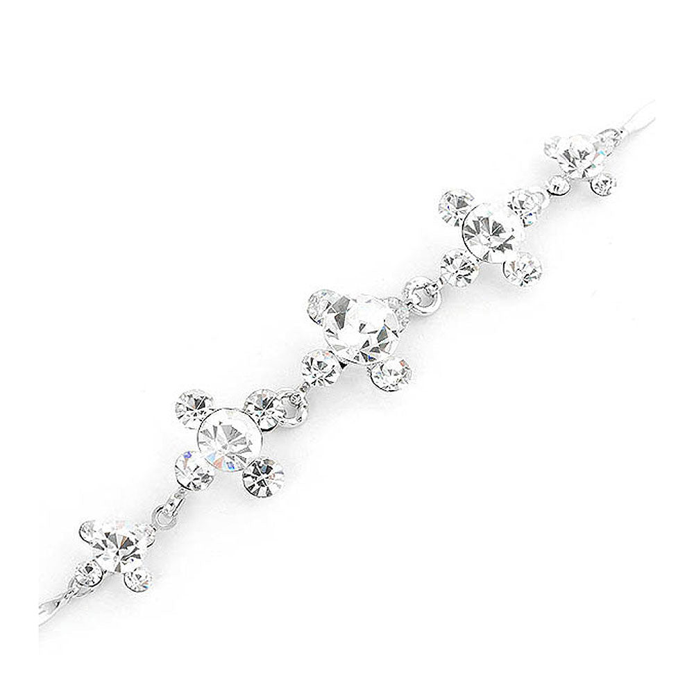 Glistening Bracelet with Silver Austrian Element Crystals and CZ Beads
