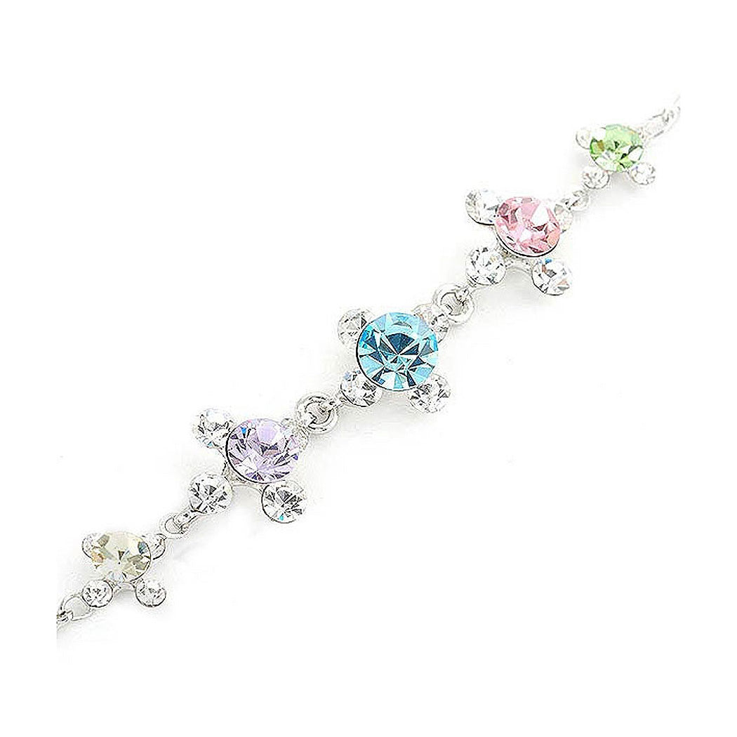Glistening Bracelet with Silver Austrian Element Crystals and Multi Color CZ Beads