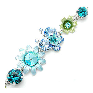 Flower and Butterfly Bracelet with Blue Austrian Element Crystals