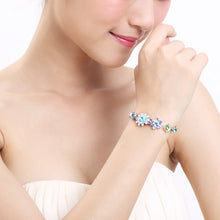 Load image into Gallery viewer, Flower and Butterfly Bracelet with Blue Austrian Element Crystals