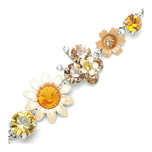 Flower and Butterfly Bracelet with Orange Austrian Element Crystals
