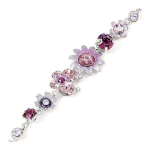 Flower and Butterfly Bracelet with Purple Austrian Element Crystals