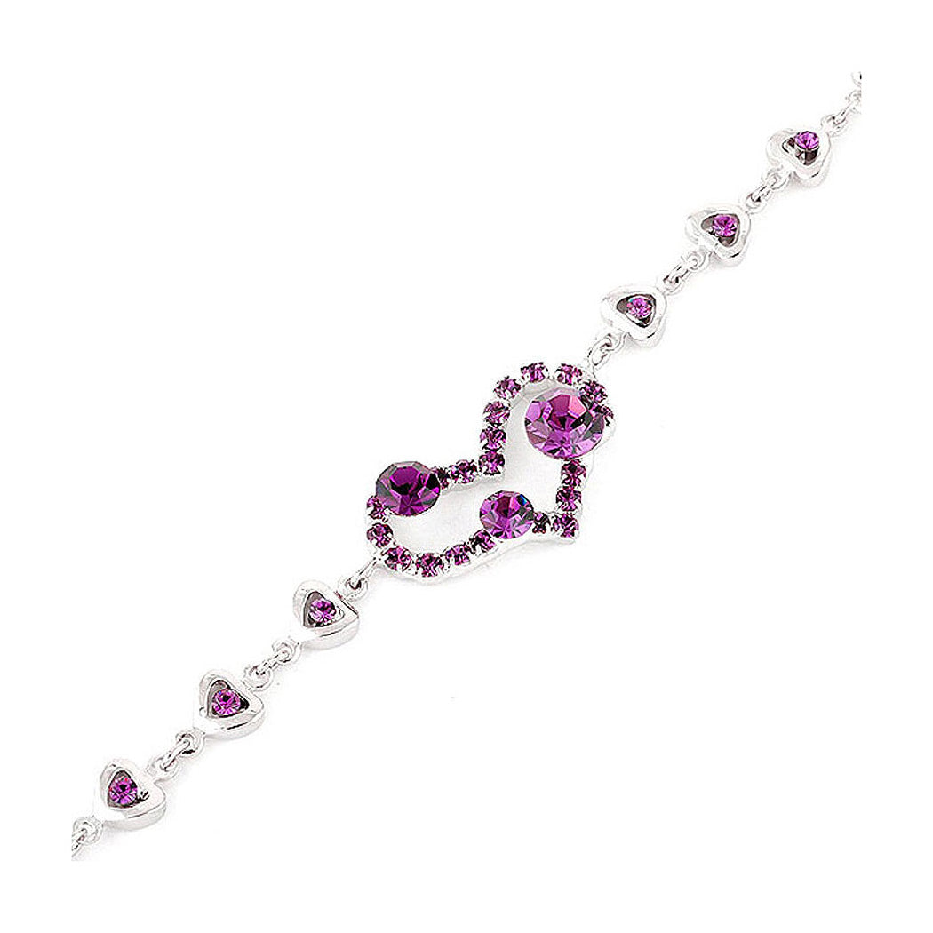 Genuine Love Heart Shape Bracelet with Purple Austrian Element Crystals and CZ Beads