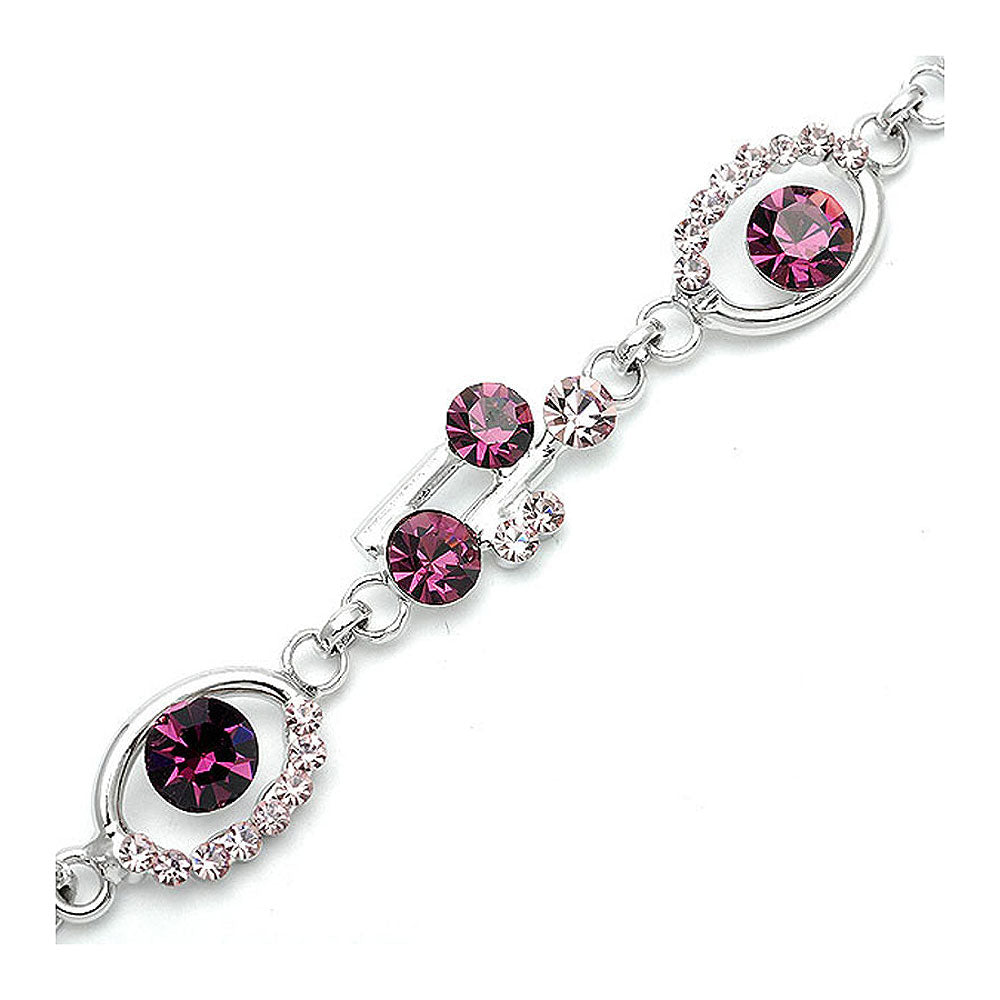 Purple Spots Bracelet with Purple Austrian Element Crystals