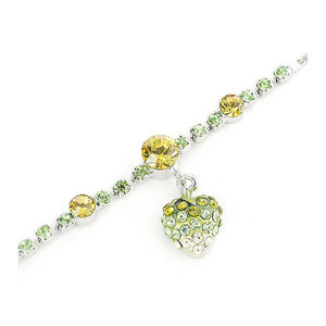 Fancy Bracelet with Strawberry Charm in Green and Yellow Austrian Element Crystals
