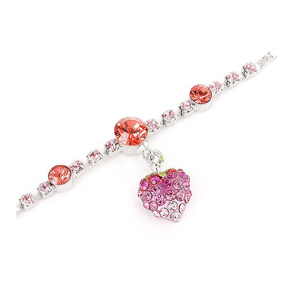 Fancy Bracelet with Strawberry Charm in Pink Austrian Element Crystals