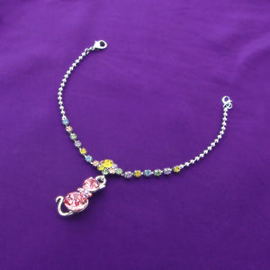 Dazzling Flower Bracelet with Cat Charm and Multi Color Austrian Element Crystals