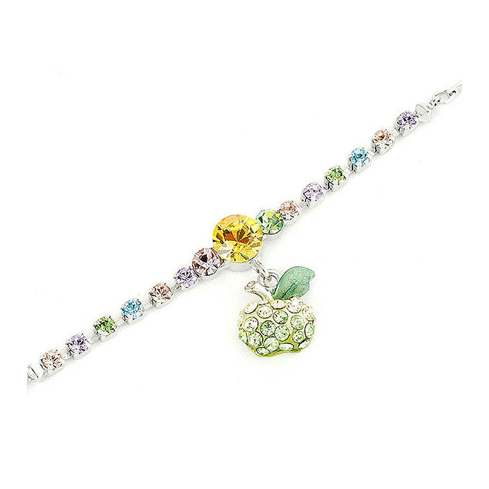Fancy Bracelet with Green Apple Charm in Multi Color Austrian Element Crystals