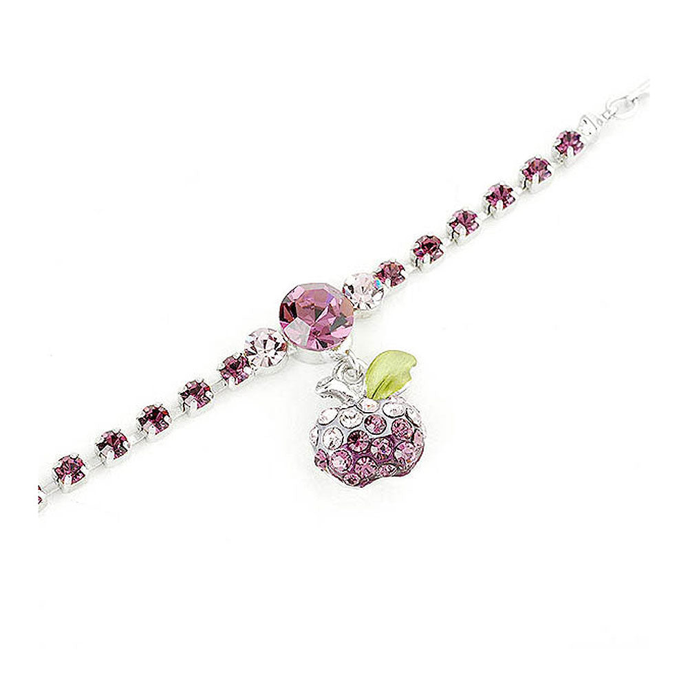 Fancy Bracelet with Purple Apple Charm in Purple Austrian Element Crystals