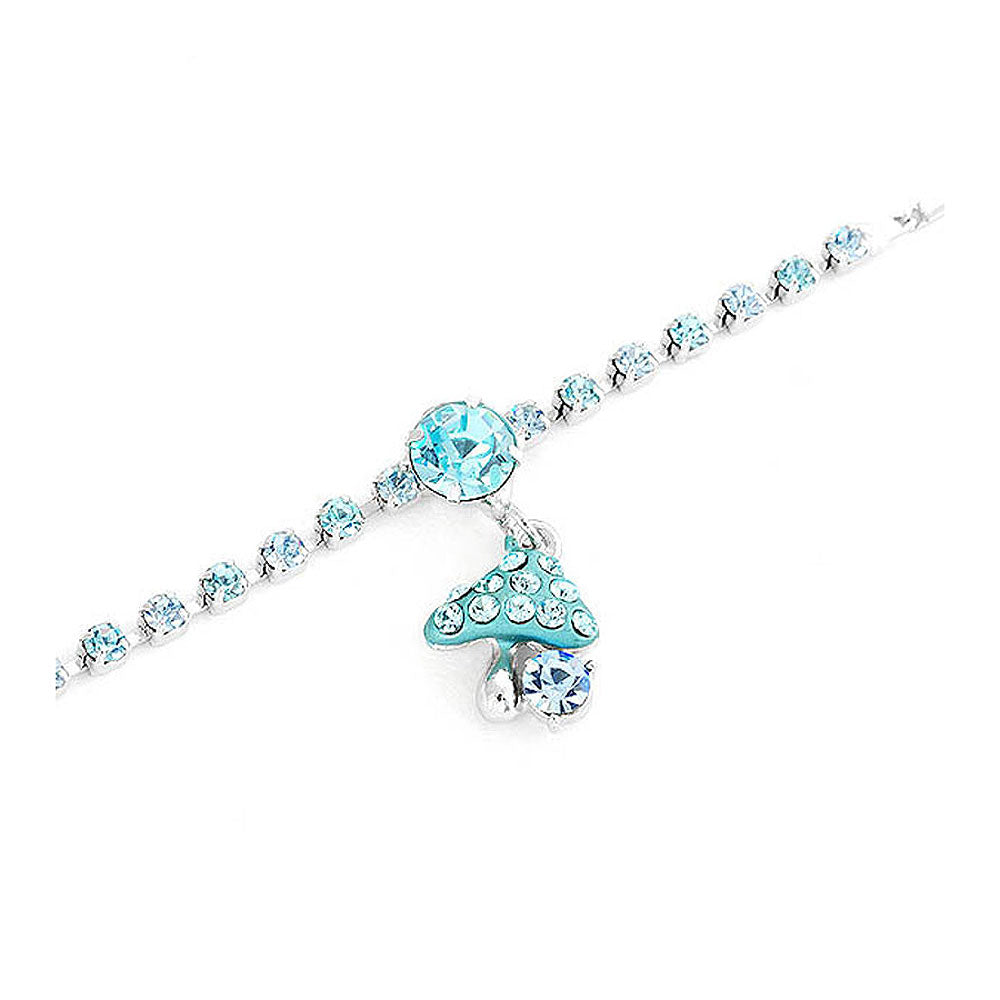 Fancy Bracelet with Mushroom Charm in Blue Austrian Element Crystals