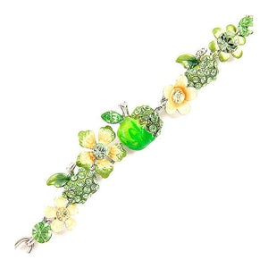 Apple and Flower Bracelet with Yellow and Green Austrian Element Crystals