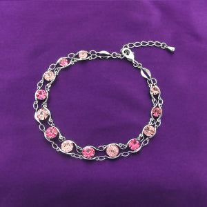Glistening Bracelet with Pink Austrian Element Crystals
