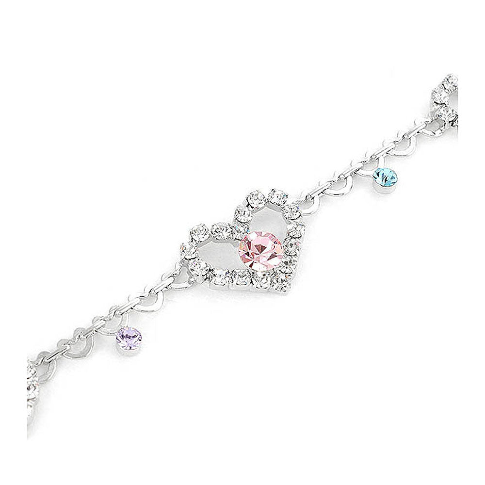 Great Affection Bracelet with Silver and Multi Color Austrian Element Crystals