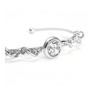 Wired Bangle with Silver Austrian Element Crystals and CZ Beads