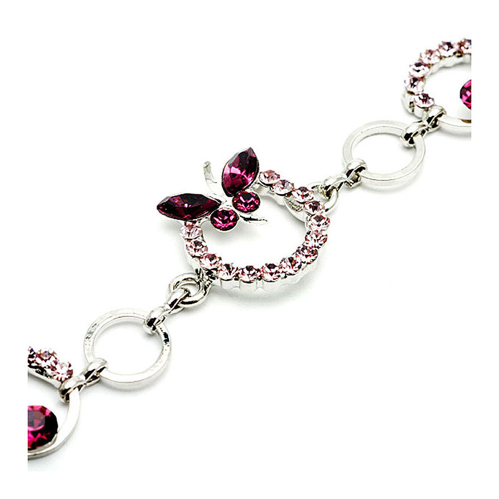 Purple Butterfly Bracelet with Austrian Element Crystals