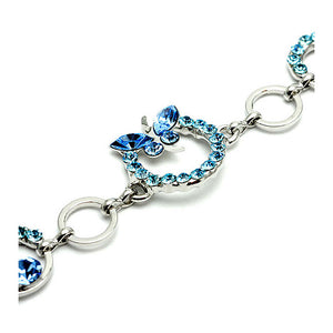 Sky Blue Butterfly Bracelet with Austrian Element Crystals