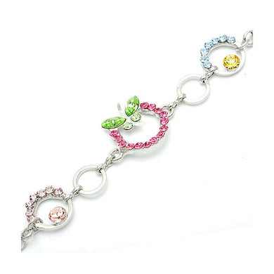 Green Butterfly Bracelet with Multi-Color Austrian Element Crystals