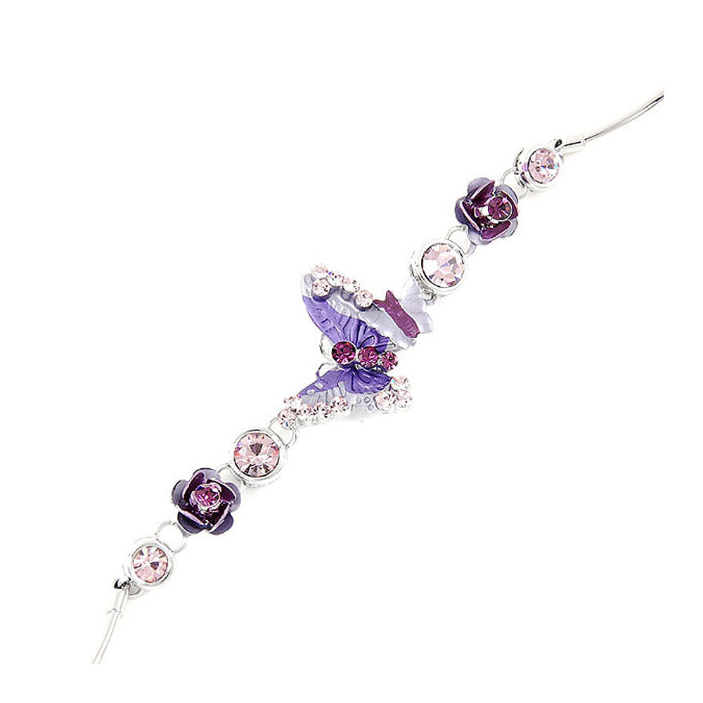 Elegant Rose and Butterfly Bracelet with Purple Austrian Element Crystals