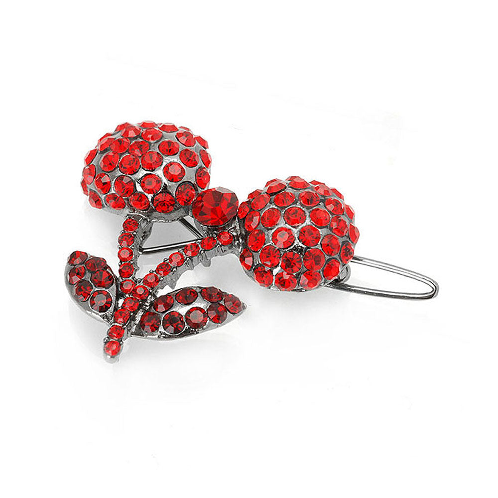 Cherry Hair Clip in Red Austrian Element Crystals