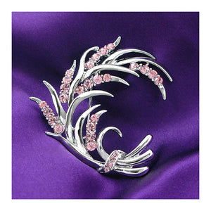 Wheat-like Brooch with Pink Austrian Element Crystals