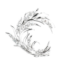 Load image into Gallery viewer, Wheat-like Brooch with Silver Austrian Element Crystals