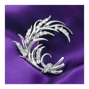 Wheat-like Brooch with Silver Austrian Element Crystals