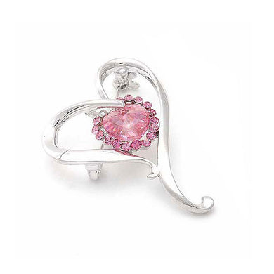 Graceful Heart Brooch with Pink Austrian Element Crystals and Crystal Glass
