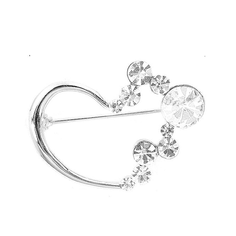 Fashion Love Brooch with Silver Austrian Element Crystals