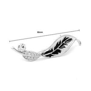 Leaf Brooch with Silver Austrian Element Crystals and CZ Bead