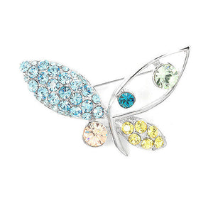 Butterfly Brooch with Multi-color Austrian Element Crystals