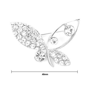 Butterfly Brooch with Silver Austrian Element Crystals