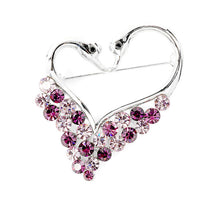 Load image into Gallery viewer, Swans Brooch with Purple Austrian Element Crystals
