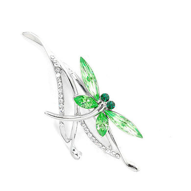 Dragonfly Brooch with Green Austrian Element Crystals