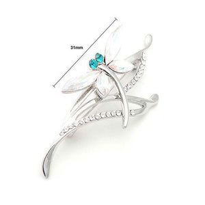 Dragonfly Brooch with Green and Silver Austrian Element Crystals