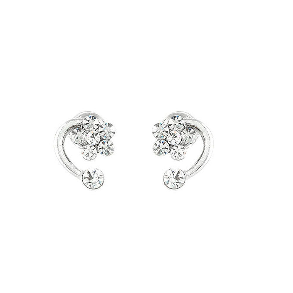 Trendy Flower Earrings with Silver Austrian Element Crystals