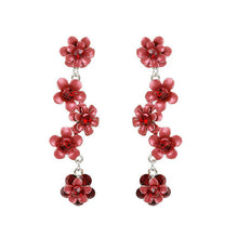 Load image into Gallery viewer, Flowery Earrings with Red Austrian Element Crystals
