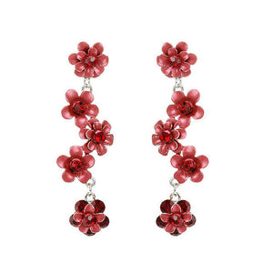 Flowery Earrings with Red Austrian Element Crystals