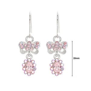Glistening Ribbon Earrings with Pink Austrian Element Crystals